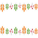 Autumn border with black rowan and leaves Royalty Free Stock Image