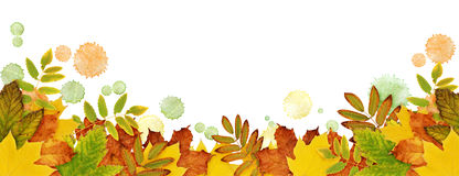 Autumn border with dried leaves and paint blots in yellow, orang Stock Photography