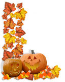 Autumn border Fall Leaves pumpkins Royalty Free Stock Photo