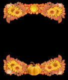 Autumn Border or Frame with Pumpkin, Dried Flowers, and Leaves Royalty Free Stock Photo