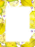 Autumn border frame - yellow leaves, numbers, letters. Watercolor Royalty Free Stock Photos