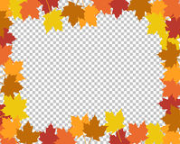 Autumn border leaves over a blank Royalty Free Stock Photo