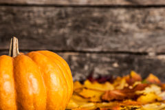 Autumn border with pumpkin. Autumn border from pumpkin and maple leaves on wooden background Stock Images