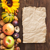 Autumn border on a wooden table Stock Photography