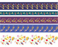 Autumn borders design set with flowers Stock Photo