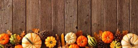 Free Autumn Bottom Border Banner Of Pumpkins, Gourds And Fall Decor On A Rustic Wood Background Royalty Free Stock Images - 159854279
