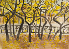 Autumn boulevard, painting Stock Photo