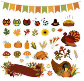 Autumn Bounty Thanksgiving Vector Clipart Stock Images