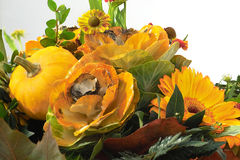 Autumn bouquet. Autumn floral decoration with pumpkin Stock Photography