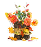 Autumn bouquet on basket Royalty Free Stock Photos