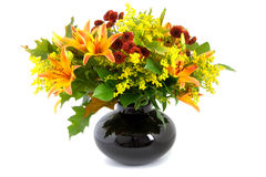 Autumn bouquet in black vase  Royalty Free Stock Photo
