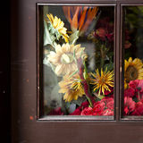 Autumn bouquet in brawn window Royalty Free Stock Photo
