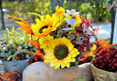 Autumn Bouquet, colorful autumn decoration. Sunflower and berries Royalty Free Stock Image