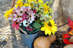 Autumn Bouquet, colorful autumn decoration. Sunflower and flowers Stock Image
