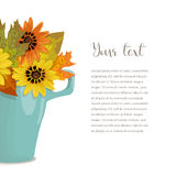 Autumn bouquet in cup with text. Composition an autumn bouquet of yellow, orange leaves and flowers in cup and surface card on white background , vector Stock Image