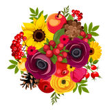 Autumn bouquet with flowers, berries, apples, cones and leaves. Vector illustration. Stock Image