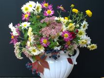 Autumn bouquet of flowers in a white vase Stock Photography
