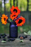 Autumn bouquet with orange sunflowers on a rustic table Royalty Free Stock Image