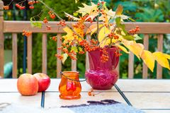 Autumn bouquet on outdoor table. Fall season on family home pati Royalty Free Stock Photos