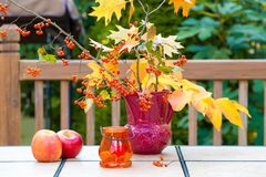 Autumn bouquet on outdoor table. Fall season on family home pati Stock Images