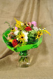 The autumn bouquet of wild and cultivated flowers Stock Photography