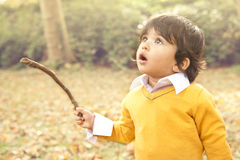 Autumn Boy. A one year old toddler looking up holding a stick Royalty Free Stock Photo