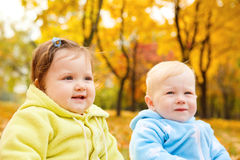 Autumn boy and girl Royalty Free Stock Images