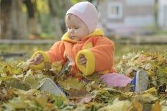 autumn boy leafs lying Стоковые Изображения RF