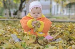 autumn boy leafs lying Стоковые Фотографии RF