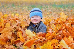 Autumn boy portrait shoot in the garden Royalty Free Stock Photography