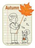 Autumn Boy Sign immagine stock libera da diritti
