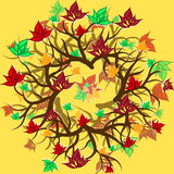 Autumn branch with leaves design. On yellow Royalty Free Stock Photography