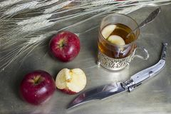 Autumn breakfast with a glass of tea Stock Images
