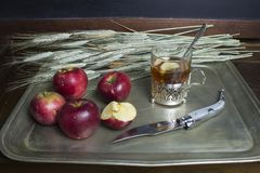 Autumn breakfast with a tea and apples Royalty Free Stock Image