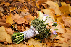 Autumn, bridal flowers, autumn bouquet, wedding, composition, flowers and berries, design,gold leaf fall. Stock Photos