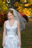 Autumn Bride. In park near trees royalty free stock photography