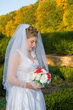 Autumn Bride. Looking down at her bouquet at the park stock photo