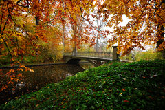 Autumn bridge. Old bridge in a park one autumn day and a light mist Stock Images