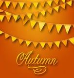 Autumn Bright Holiday Card met het Hangen van Bunting Wimpels Stock Foto