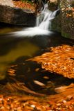 Autumn waterfalls. Autumn brook with stones and leaves Stock Images