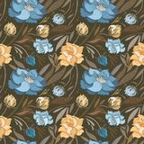 Autumn Brown Vector Floral Pattern Immagine Stock