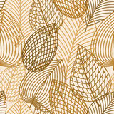 Autumn brown and yellow leaves seamless pattern. Autumnal seamless pattern with outline brown and orange leaves on white background Royalty Free Illustration