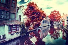 Autumn in Bruges. Cityscape with historic medieval houses along Royalty Free Stock Photography
