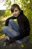 Autumn brunette girl Stock Images