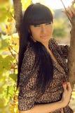 Autumn Brunette Woman Fashion, Outdoors Stock Images