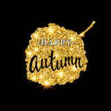 Autumn brush lettering. Gold glitter banner design with sparkles on black background. Seasonal fall poster with the Royalty Free Stock Photography