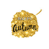 Autumn brush lettering. Gold glitter banner design with sparkles on white background. Seasonal fall poster with the Royalty Free Stock Photo