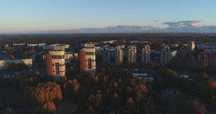 Riga city Autumn buildings living houses Drone Time-lapse. Autumn buildings in the Town Drone Time-lapse stock video footage