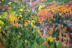 Autumn Bujaruelo Ordesa waterfal in colorful fall forest Huesca Royalty Free Stock Photo