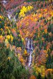 Autumn Bujaruelo Ordesa waterfal in colorful fall forest Huesca Stock Photos